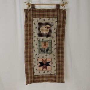 Vtg Primitive Folk Art Handmade Quilted Hanging